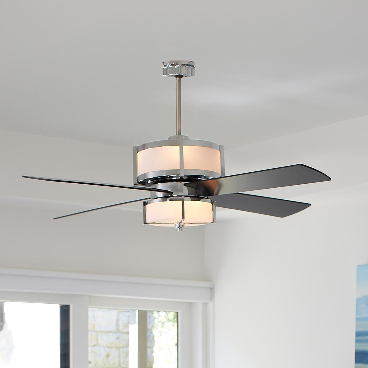 Upscale Modern Ceiling Fan 2 Finishes Shades Of Light Modern