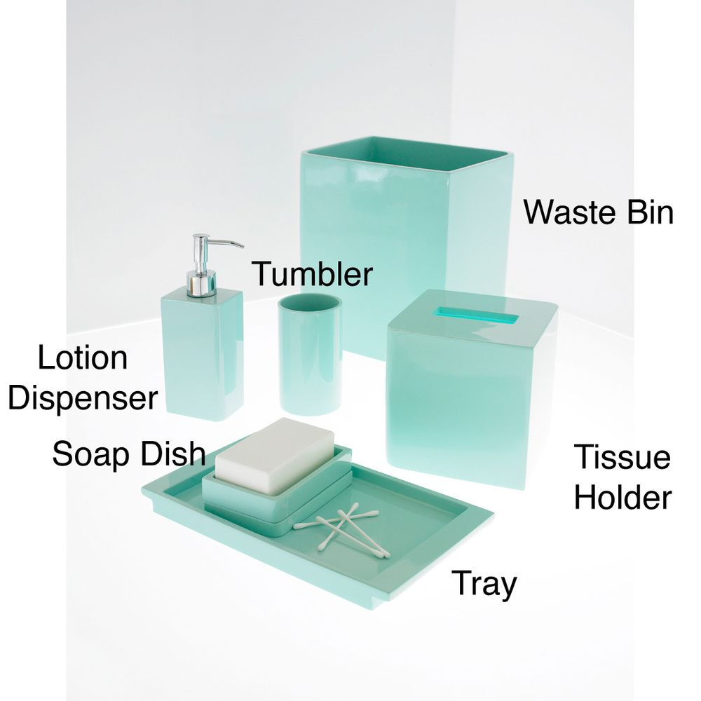 Solid Lacquer Light Blue Bath Accessory Collection Overstock Com Shopping The Best Prices On Bathroom Accessory Sets In 2019 Green Bathroom Accessories Blue Bath Blue Vanity