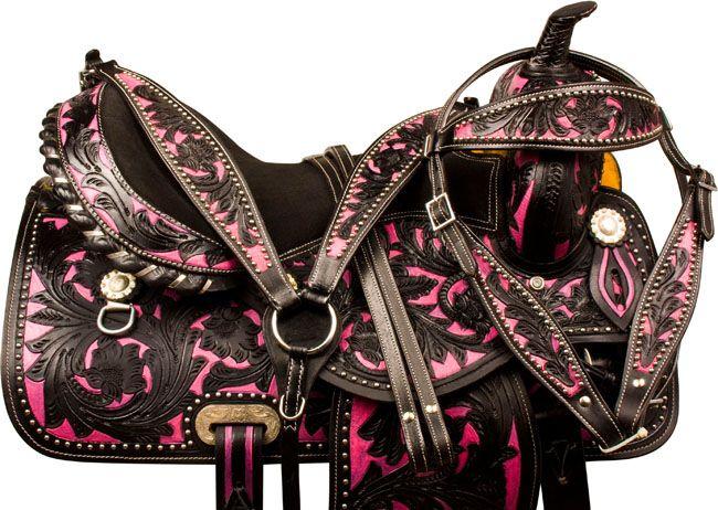 Black Pink Barrel Racing Trail Western Horse Saddle 15