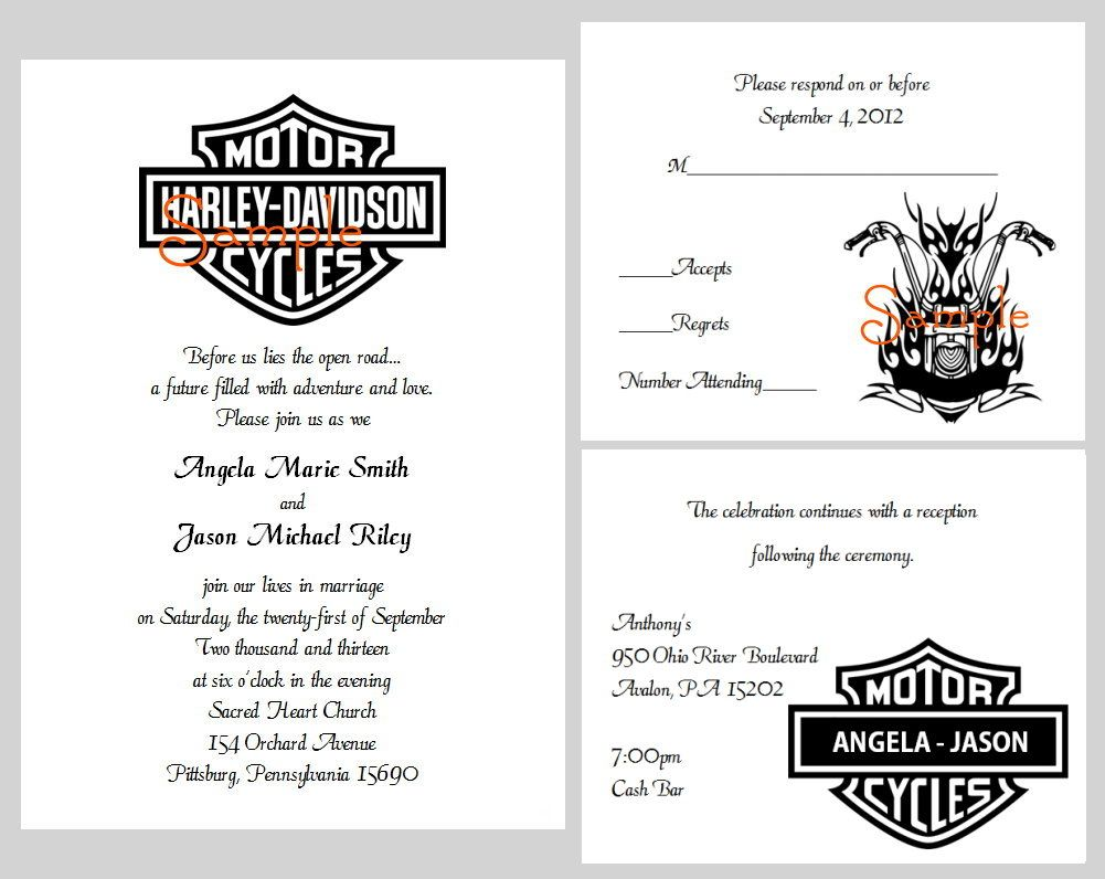 100 Personalized Custom Harley Davidson Motorcycle Bridal Wedding ...