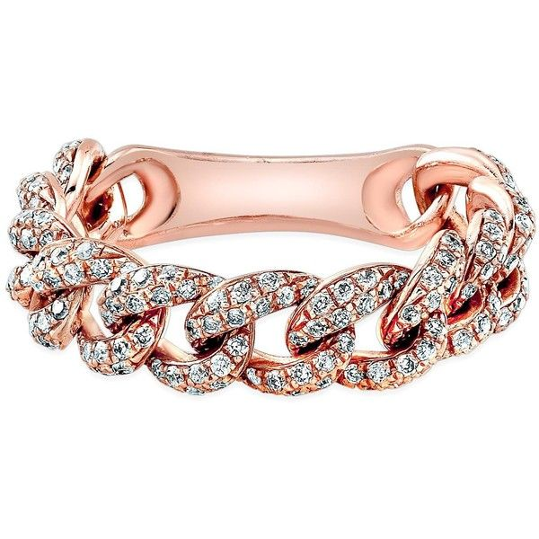 14kt rose gold diamond thin chain link ring 1589 liked on