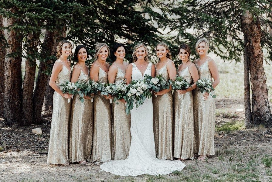 Timber Ridge Wedding  Keystone Wedding Photographer - Gold bridesmaid dresses, Mermaid style wedding dress, Gold sequin bridesmaid dress, Wedding dresses, Wedding dresses simple, Wedding bridesmaid dresses - Nicolette and Dylan's Timber Ridge wedding at Keystone Resort showcases beautiful mountain views, every Colorado season, and so many sweet moments