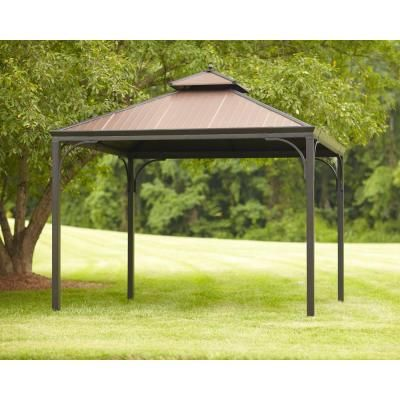Hampton Bay Haden 10 Ft X 10 Ft Copper Square Steel Hard Top Gazebo L Gz680pst M The Home Depot Gazebo Gazebo Roof Gazebo Canopy