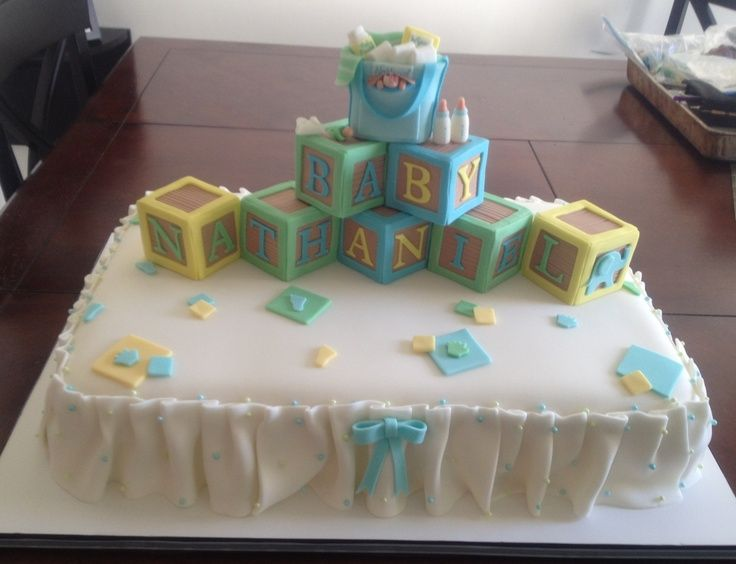 Baby Shower Cake Fondant Letter Blocks With Sweet Treat ...