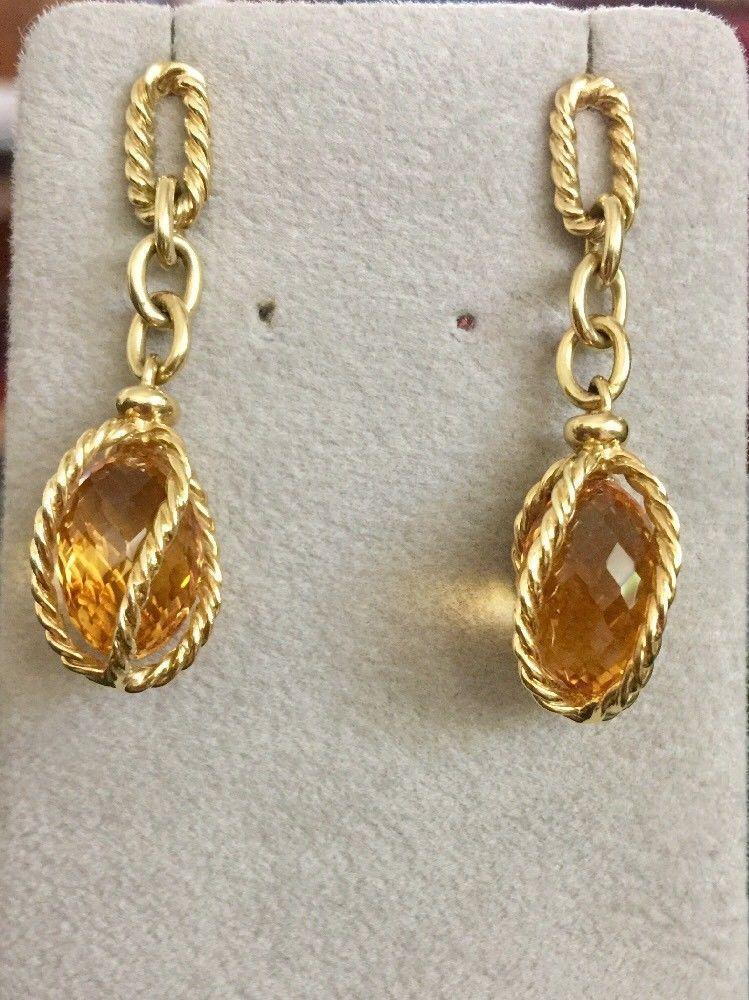 David yurman 750 gold citrine lantana drop earrings