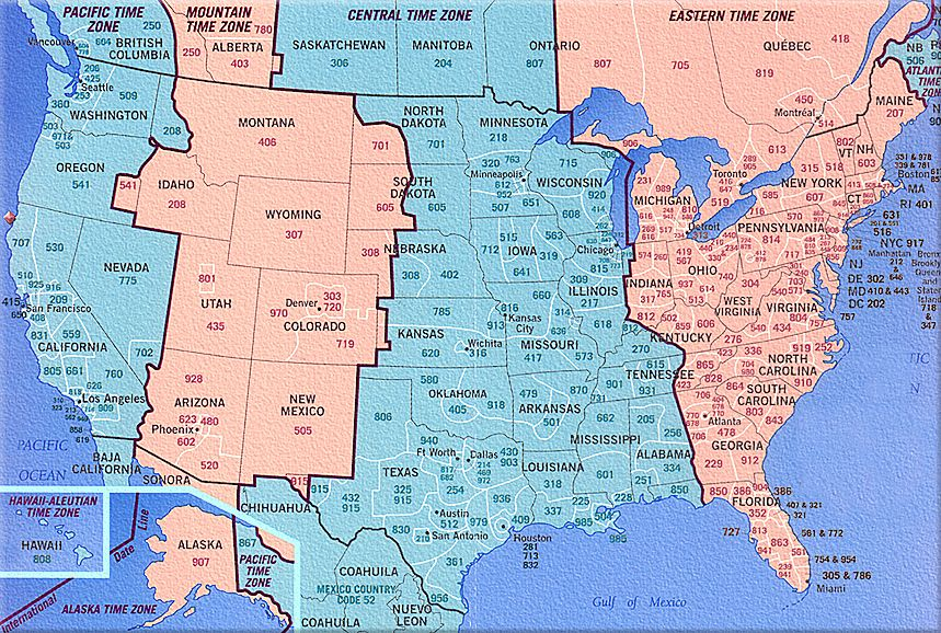Maps For Rvers Time Zone Map Map Area Codes