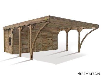 Carport en pin pour 2 voitures, avec remise 4265 m² Modèle - monter un garage en bois