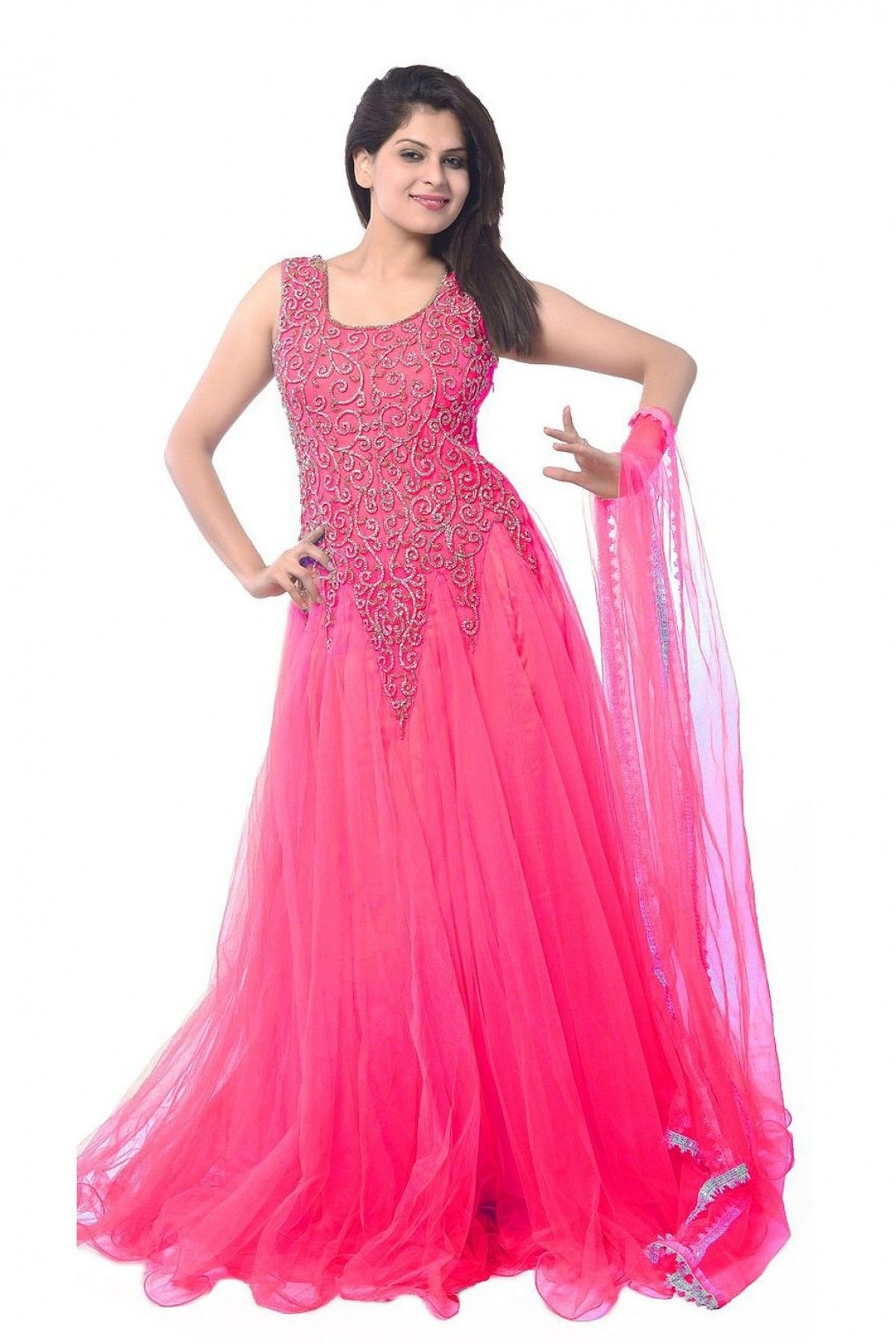 128fd5ac40 Net Party Wear Gown in Pink Colour.loor Length Anarkali for Pre-Wedding  Functions - Be it your cocktail party or sangeet ceremony, ...