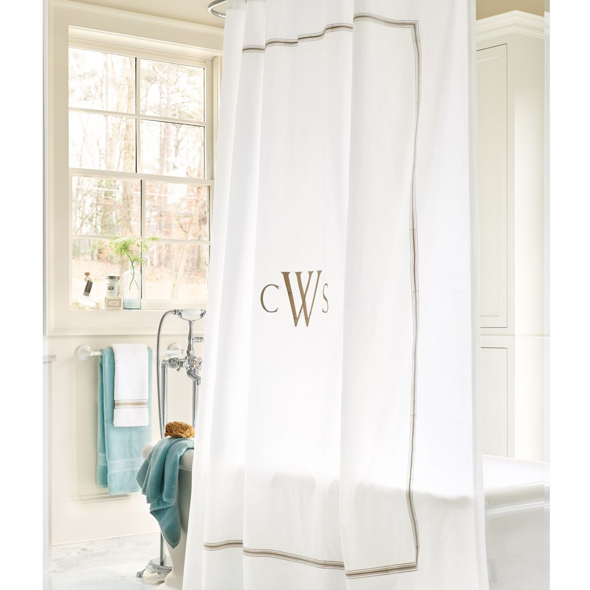 Amelie embroidered shower curtain for the home bathroom