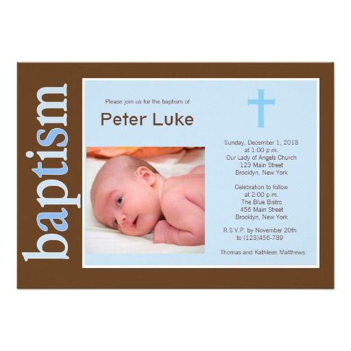 Modern Baptism Baby Boy Photo Invitation Christening Baptism