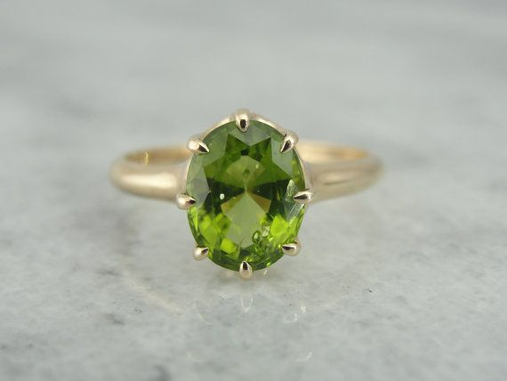 Antique Victorian Gold Ring with Fine Peridot