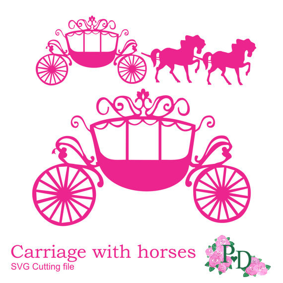 SVG DXF Princess Carriage Horse Cutting File Digital Instant Download Cinderella Die Cut Diecutting Silhouette Cameo Template EasyCutPrintPD