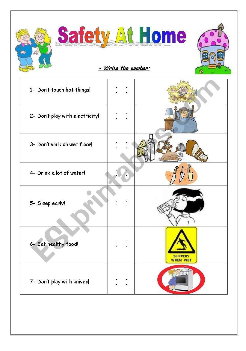 I Used This Worksheet To Teach My Young Kids About Some Safety Rules At Home They Liked It A Lot I Hope That Safety Rules At Home Home Safety Students Safety
