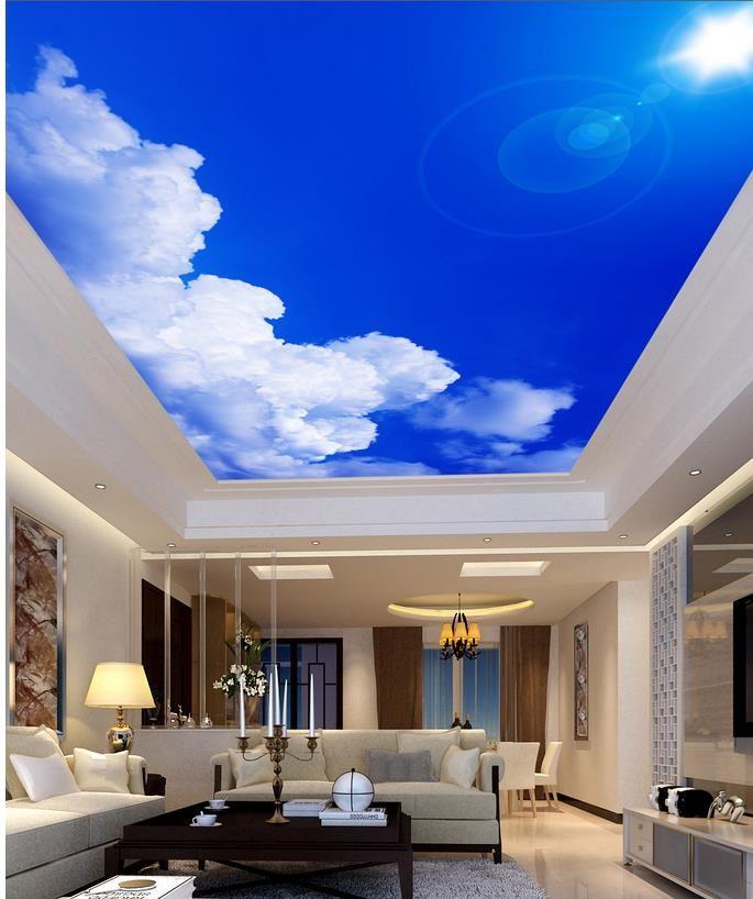 sunlight Blue Sky cloud 3d murals wallpaper for living
