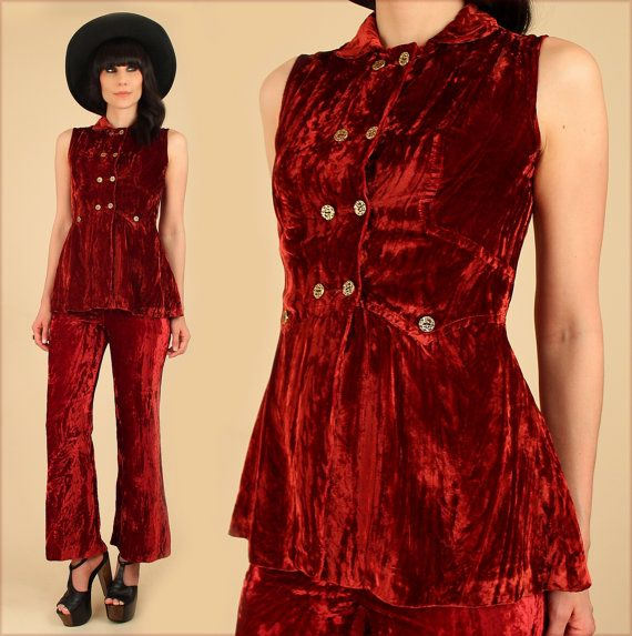 2078a26165d1 ViNtAgE 60s CRUSHED Red VELVET 2 Piece Set Mod Bell Bottoms Fashion Style  by hellhoundvintage