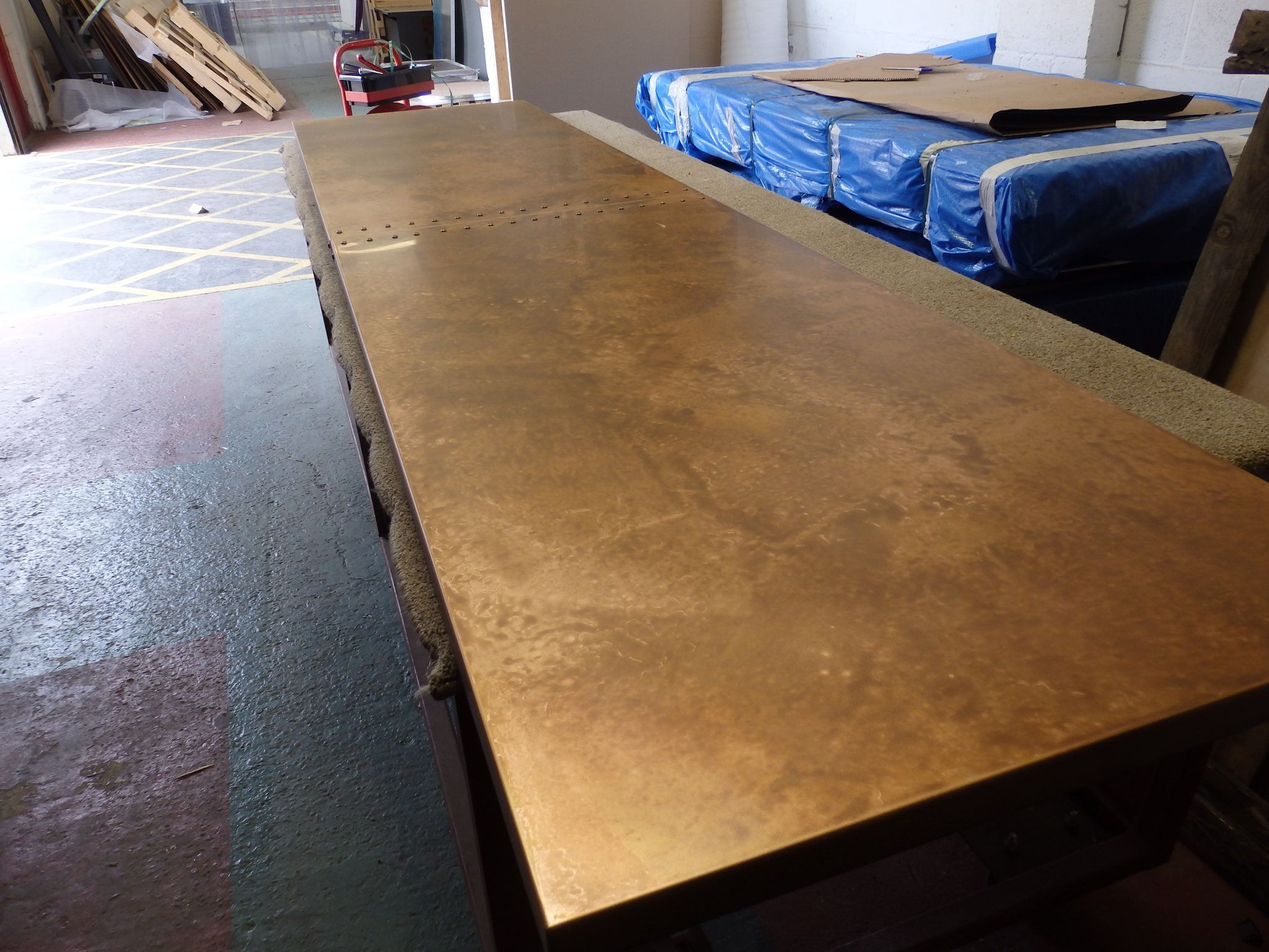 149 Long Aged Copper Table Top With Stud Detail At Joint Copper Top Table Copper Interior Copper Table