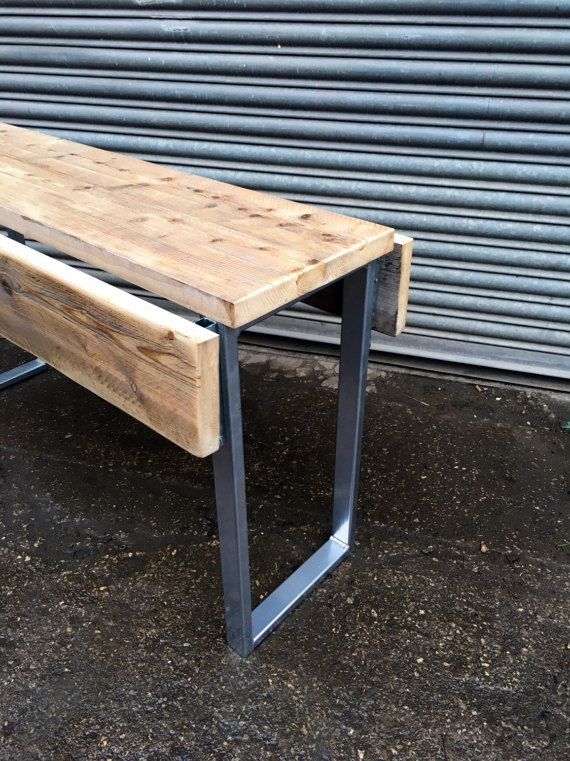 Industrial Chic Reclaimed Wood Drop Leaf Dining Table Silver