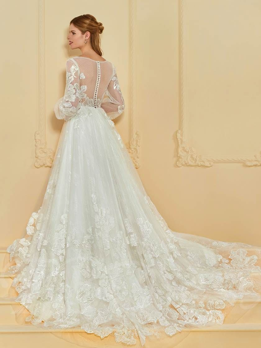 Sheer back lace wedding dress with long sleeve f gowns