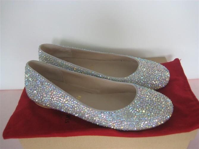 6ee600a45 Drop shipping Brand ladies Round Toe Flats red bottom rhinestone crystal  wedding diamond Pink Black Silver shoes size 34 42-in Flats from Shoes on  ...
