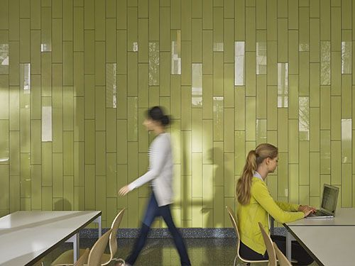 Ceramics of Italy2014 / Institutional Winner MGA Partners Morgan Hall, Temple University Location: Philadelphia, PA Tiles: Mirage Contractor: Belfi Brothers Distributor: High Style Stone & Tile Photography: Halkin   Mason Photography