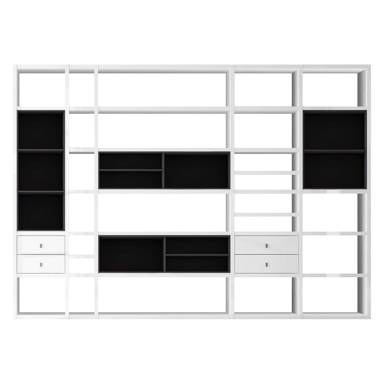 simple elegant awesome xxl regalwand emporior iii ohne beleuchtung hochglanz wei schwarz. Black Bedroom Furniture Sets. Home Design Ideas