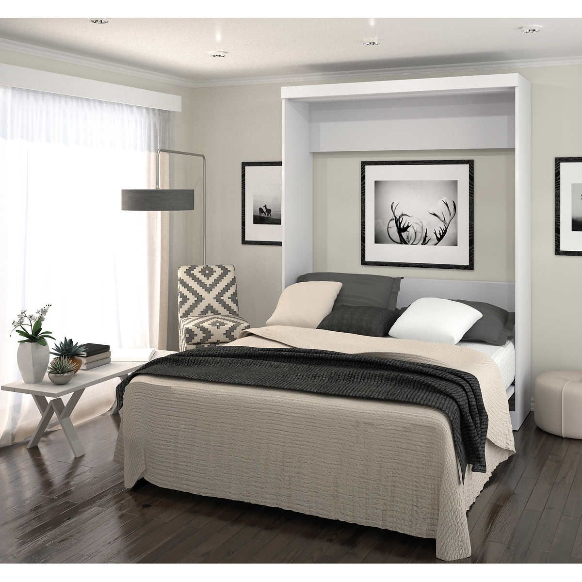 boutique queen wall bed in white for the home pinterest wall