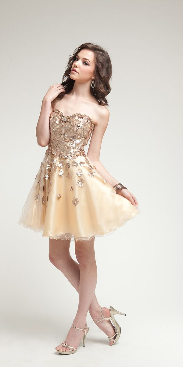 Gold Short Prom Dress - Ocodea.com
