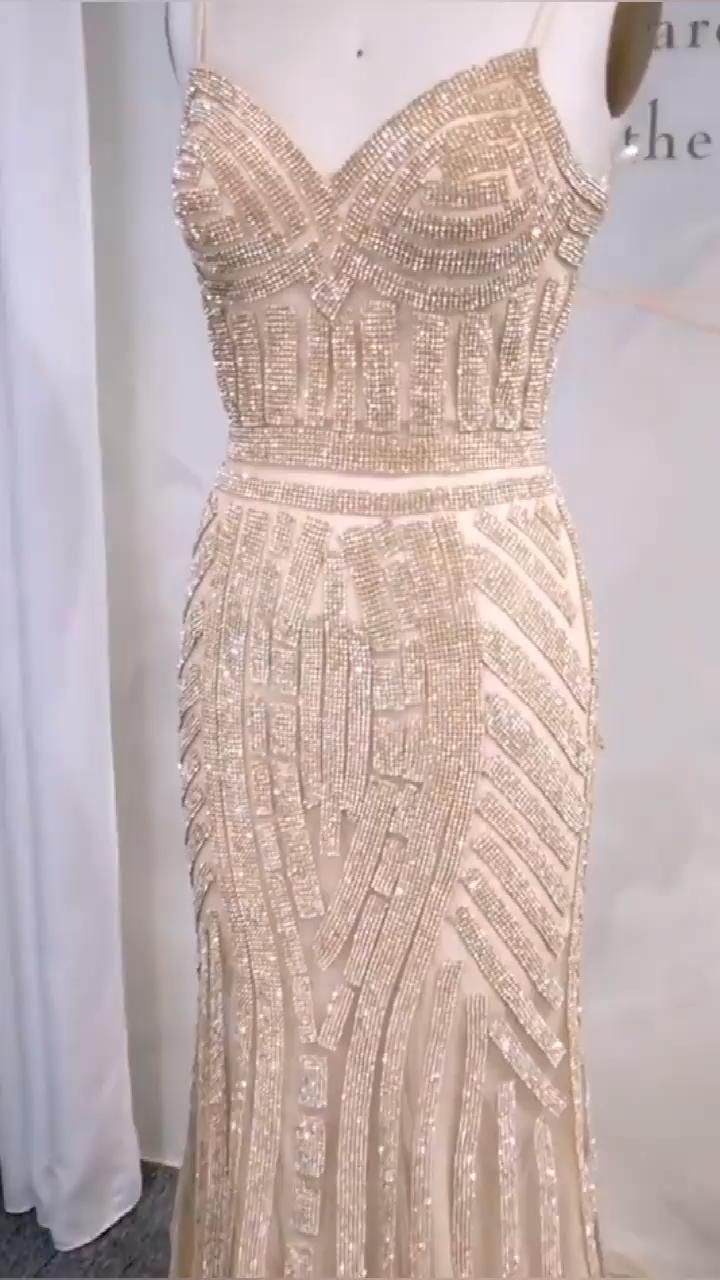 Beaded Grey Formal Dress Video Video Gold Formal Dress Dresses Fashion Design Patterns [ 1280 x 720 Pixel ]