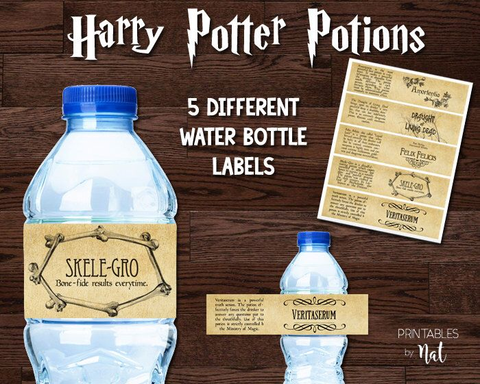 Harry Potter Potions Water Bottle Labels Printable Birthday Party