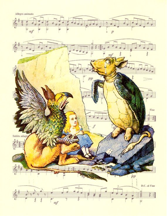 Alice in Wonderland, The Mock Turtle and Gryphon, Sheet Music Poster ...