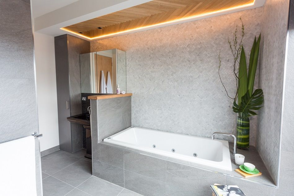 This stylish bathroom appeared on The Block Fans vs Faves It