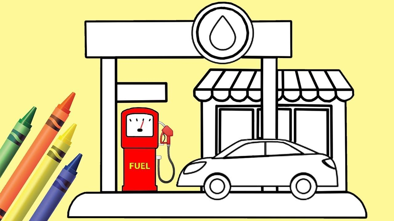 How To Draw And Color Gas Station Coloring Pages For Kids Play