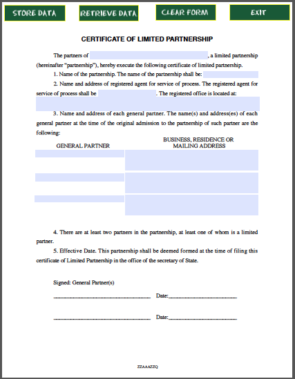 Limited Partnership Certificate Template  Template