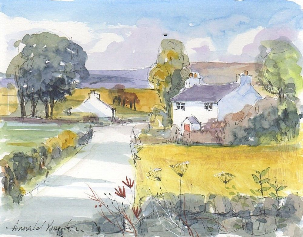 Signed Original Watercolour Near and Far by Annabel