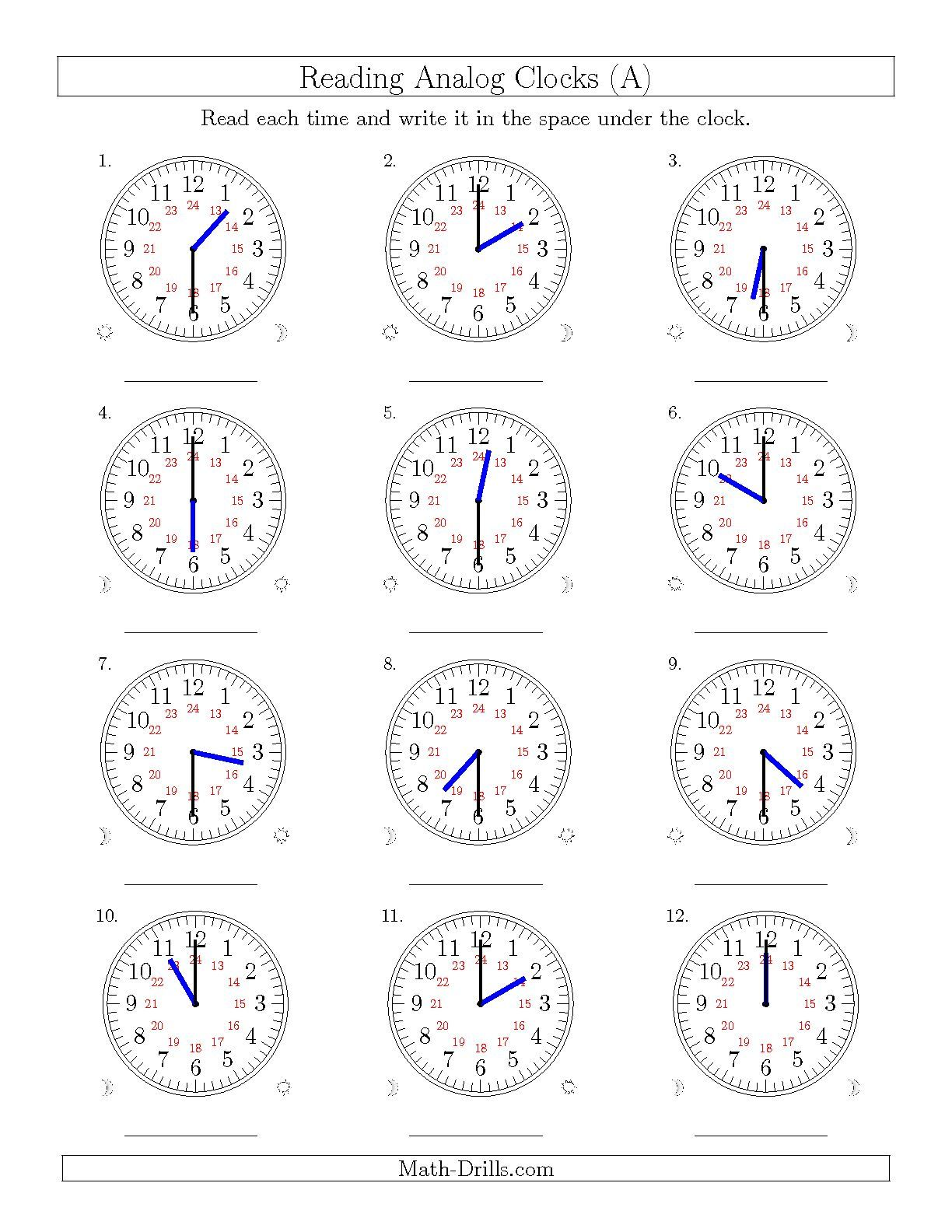 The Reading Time on 24 Hour Analog Clocks in Half Hour Intervals (A)   Clock  worksheets [ 1584 x 1224 Pixel ]
