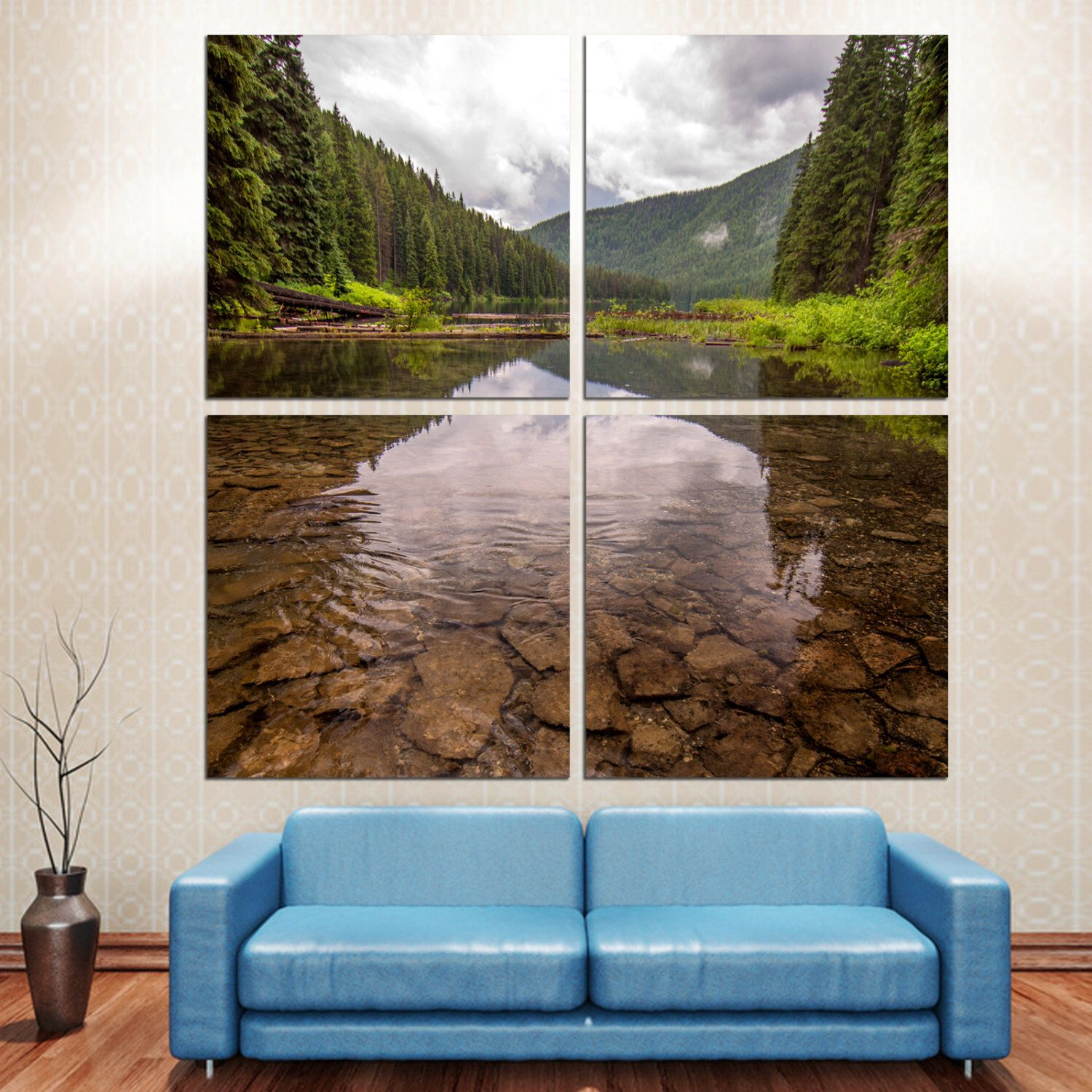 Clear Lake In Mountains W Trees Landscape Photo To Canvas
