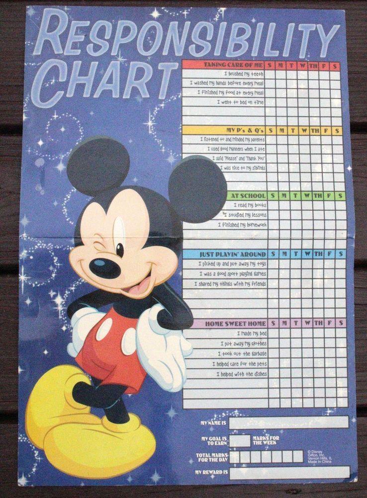 Walt Disney Mickey Mouse Children Responsibility Magnetic Dry Erase Chore Chart #WaltDisney