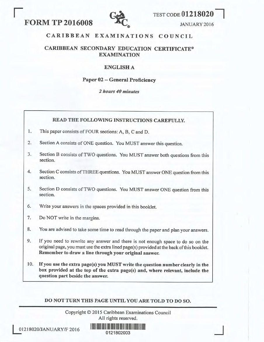 CXC, CSEC, English A, 2016, January Past Papers, Practice Tests, Caribbean  Examination Council, English Language, Language Arts,
