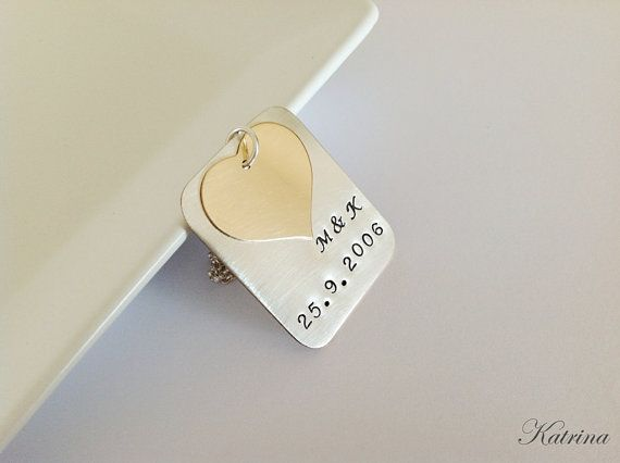 Personalized Hand Stamped Anniversary Pendant/Necklace - Mixed Metal - Sterling Silver and 14K Gold Filled