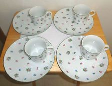 """SET of (4) Scattered Petite Flowers-Porcelain-SNACK SETS (Cup & Plate) -B"""