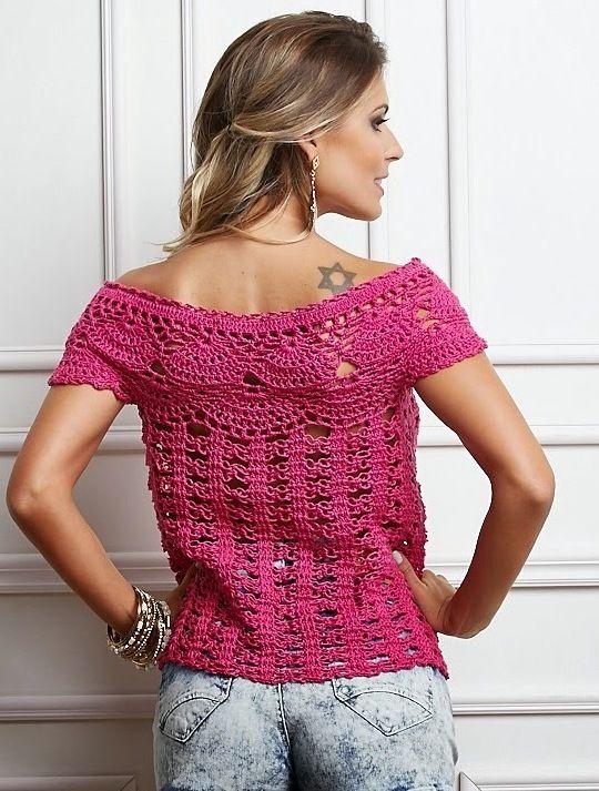 blusa-charme-pink-3.jpg (540×713) | Tricrochetando | Pinterest