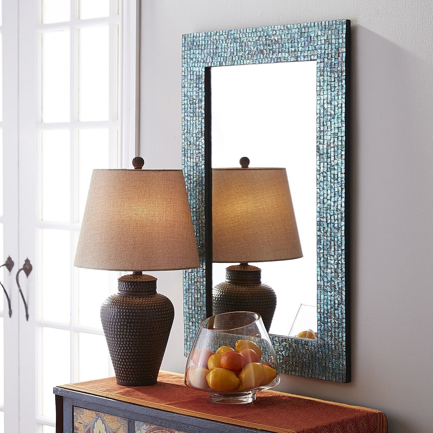 Our Shimmering Wall Mirror Evokes The Sight Of A Tropical