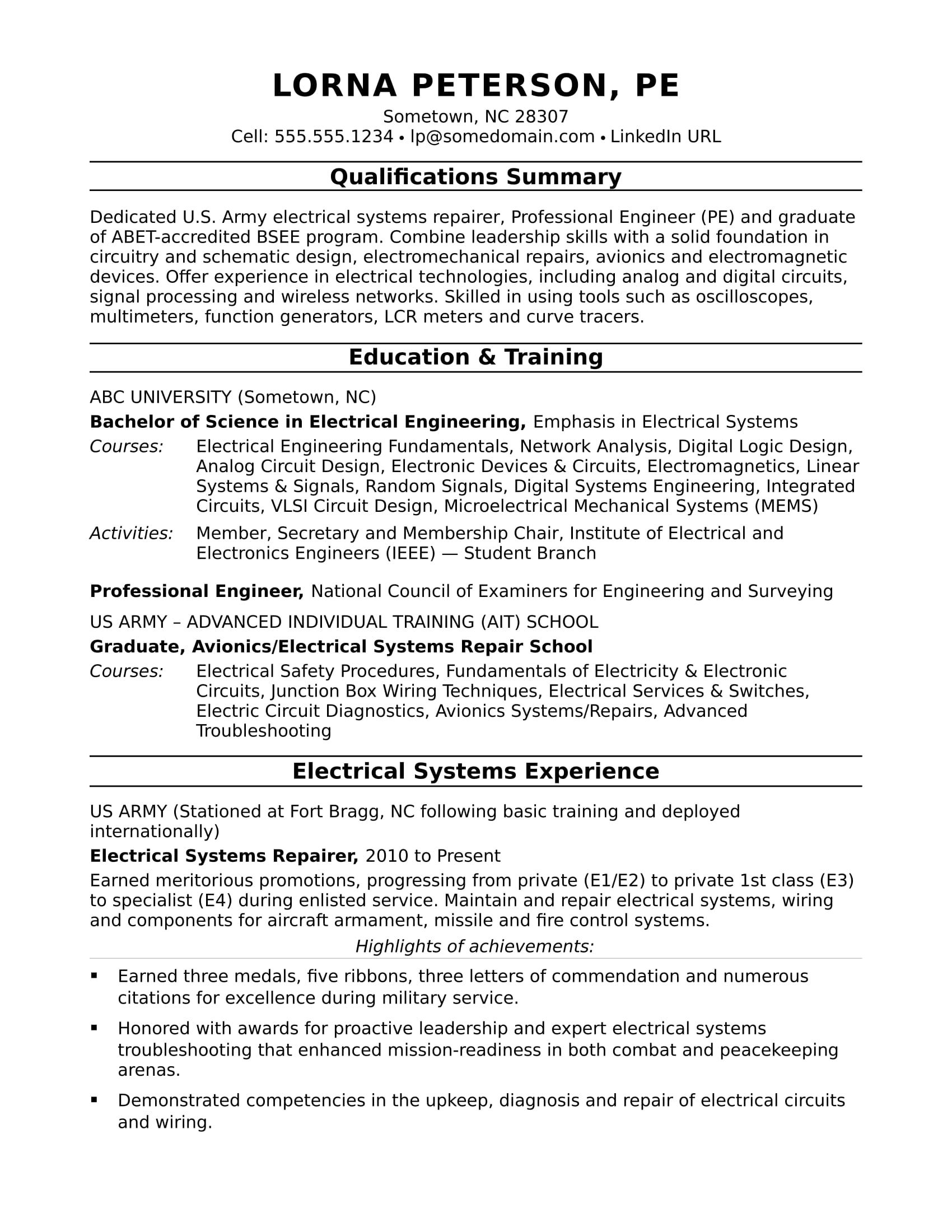 View This Electrical Engineer Resume Sample To See How You Can Communicate Your Engineering Skills And Credentials Engineering Resume Student Resume Template Mechanical Engineer Resume