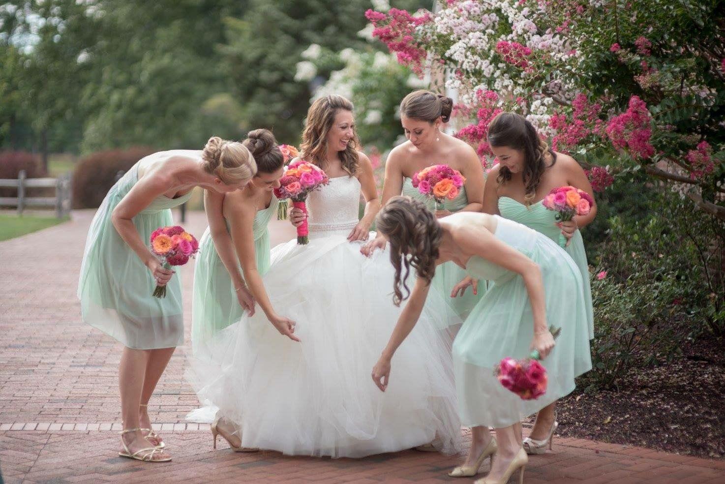 Dresses for wedding maids  Mike u Jen  Chapel Wedding  DonnaMorgan bridesmaid dresses in