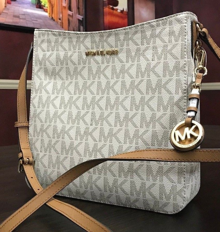 fca9f44c43 MICHAEL KORS JET SET TRAVEL LARGE MESSENGER CROSSBODY MK SIGNATURE VANILLA