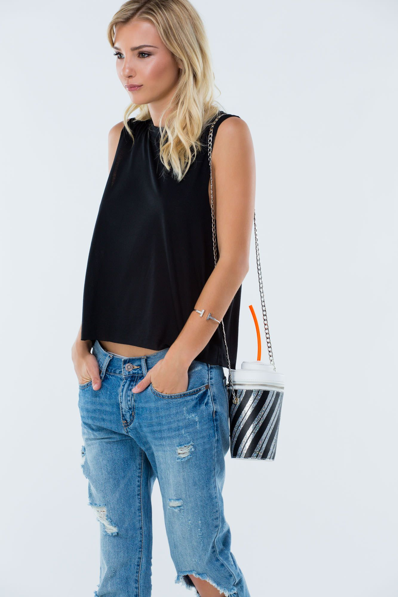 Sippin' Stripes Novelty Cup Bag REDMULTI BLACKMULTI - GoJane.com