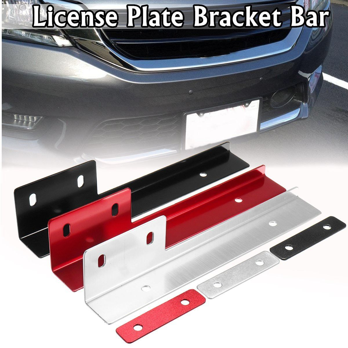Universal Brused Aluminum Front License Plate Mounting Relocate Bracket Holder Front License Plate Mount License Plate License Plate Frames