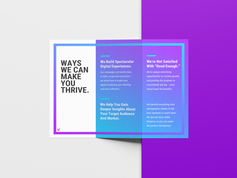 purple blue gradient marketing trifold brochure idea graphic