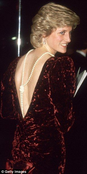The Princess of Wales wore this burgundy crushed velvet gown in 1985 to the premiere of Back to the Future.