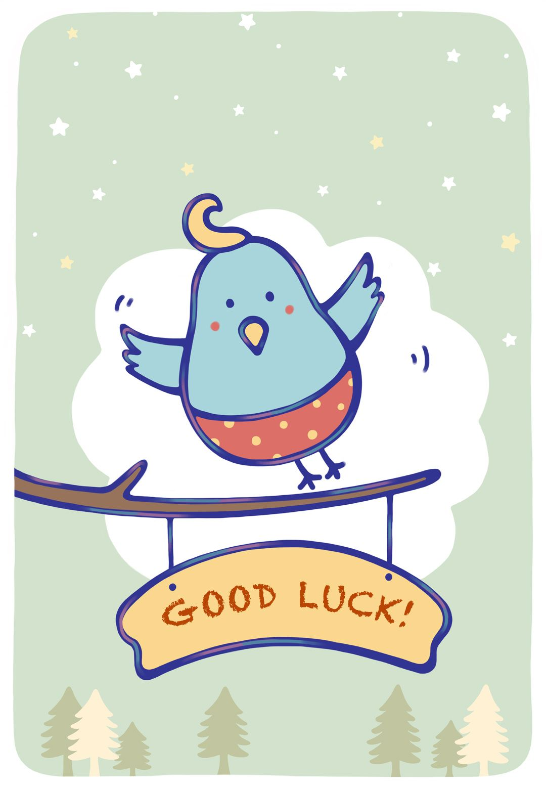 image regarding Free Printable Good Luck Cards titled No cost Printable Bluebird Of Contentment Greeting Card as a result of